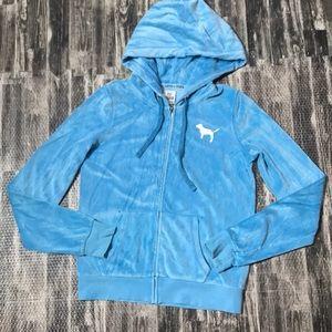 VS Pink velour zip up athletic jacket top